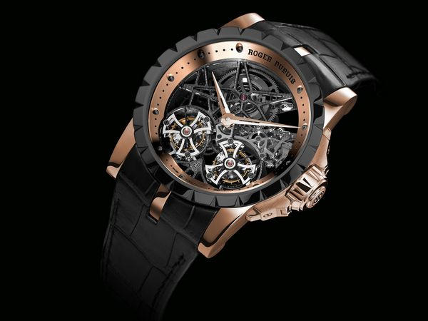 Excalibur skeleton double flying tourbillon